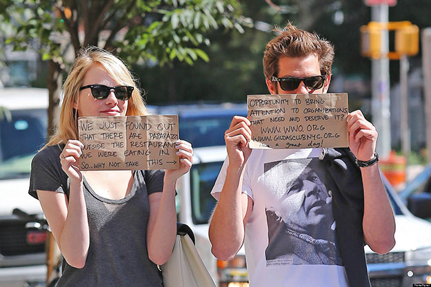 Emma Stone and Andrew Garfield Promoting Charities Source: reddit.com