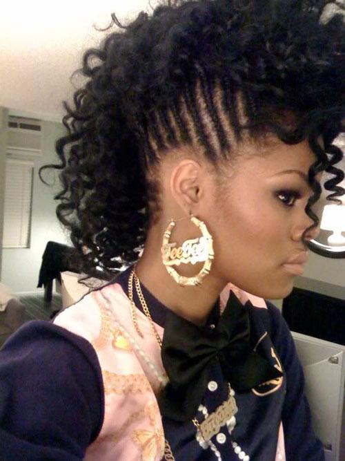 Braided Mohawk Hairstyles natural mohawk styles Side Braided Curly Mohawk Photo Credit Pinterestcom