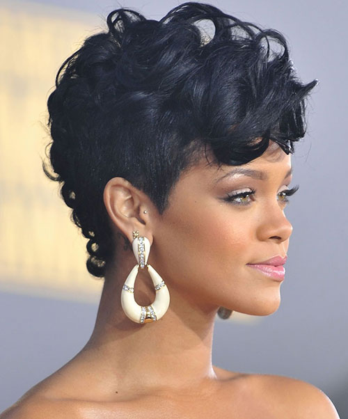 Rihanna Black Curled Mohawk Photo Credit Dolcevanity