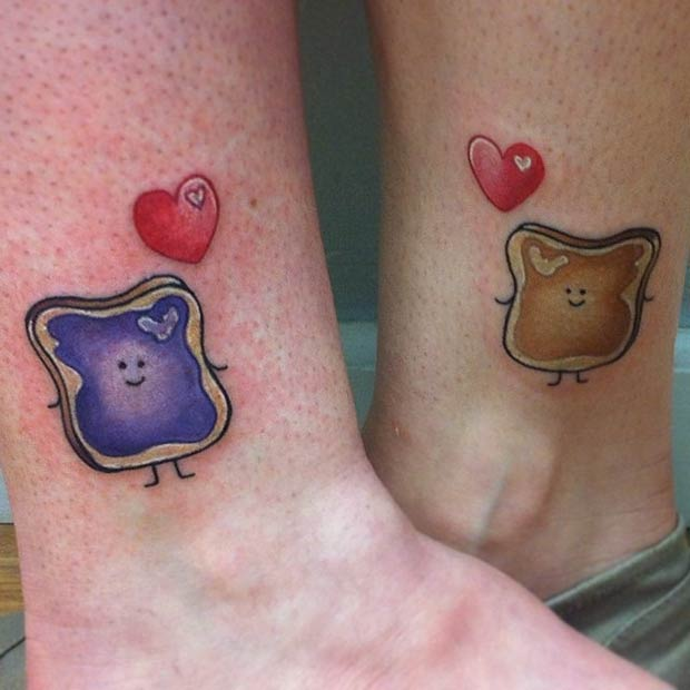 Cute Peanut Butter and Jelly Tattoos