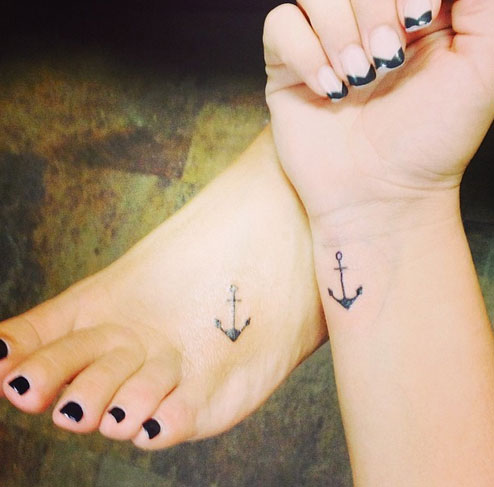 Small Anchor Matching Tattoos