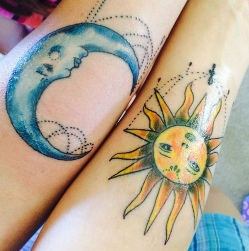 Pretty Mother Daughter Sun and Moon Tattoos