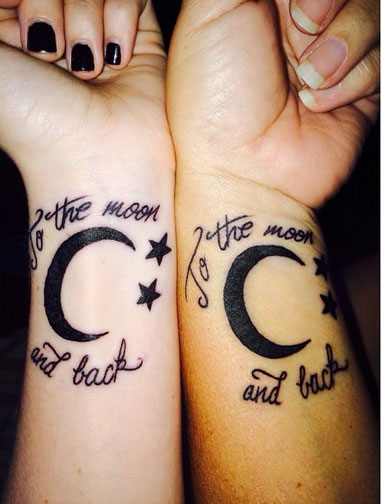 To The Moon And Back Wrist Tattoos