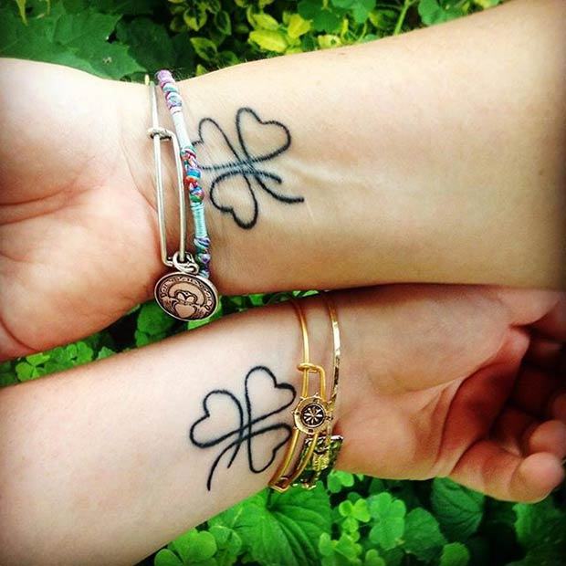 Mother Daughter Clover Tattoos