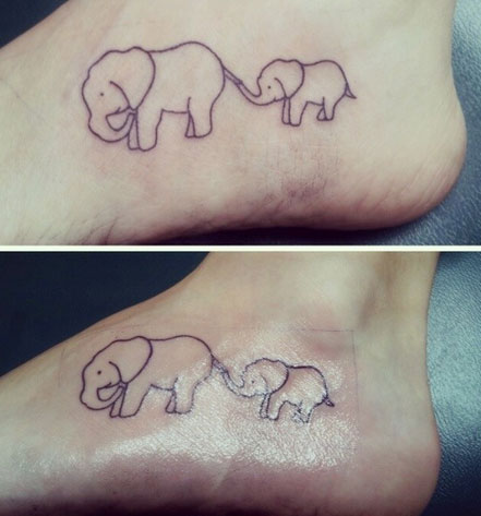 Mama & Baby Elephant Matching Mother Daughter Tattoos