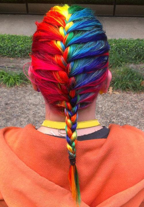 Colorful Braid for Medium Hair Length