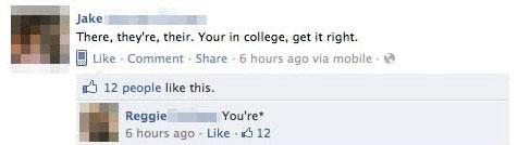 Example of Bad Grammar on Facebook