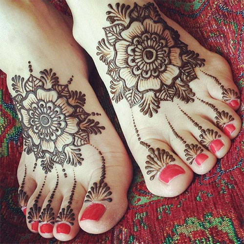 Leg Flower Henna Tattoo: Top 50 Foot Henna Designs