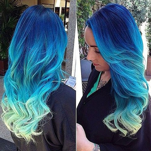 Funky Ombre Blue Long Hairstyle