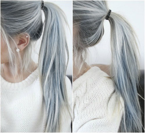 Light Blue and Gray Ponytail