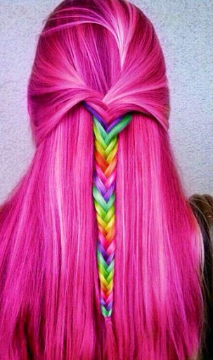 Long Hot Pink Hair with Rainbow Braid