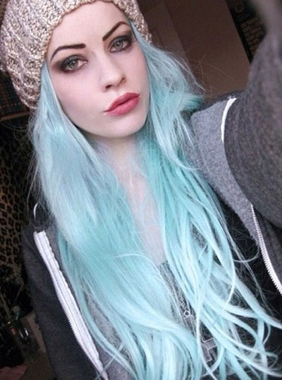 Long Light Blue Hairstyle