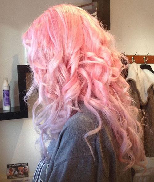 Long Light Pink Curly Hair