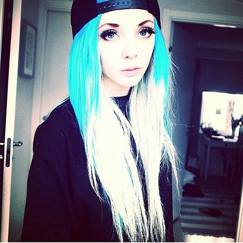 Long White and Blue Hairstyle