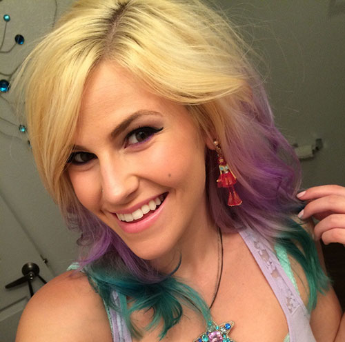Medium Blonde Hair with Colored Tips