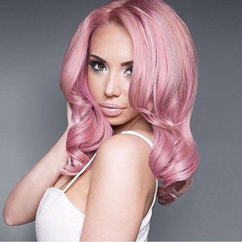 Medium Length Pink Hair