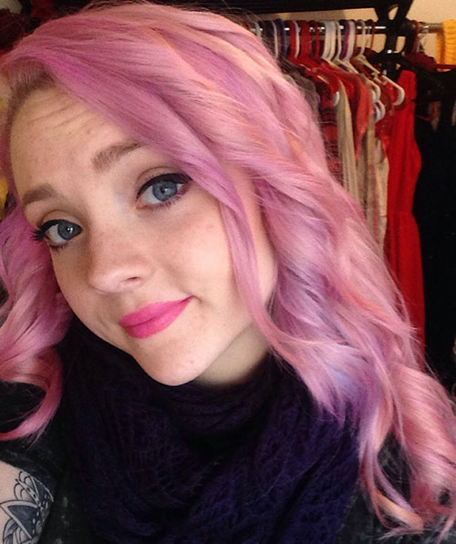 Medium Light Pink Curly Hairstyle