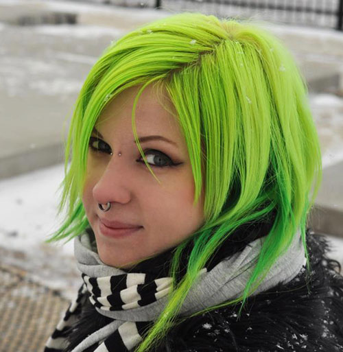 guy curly hairstyles : 50. Neon Green Short Hairstyle