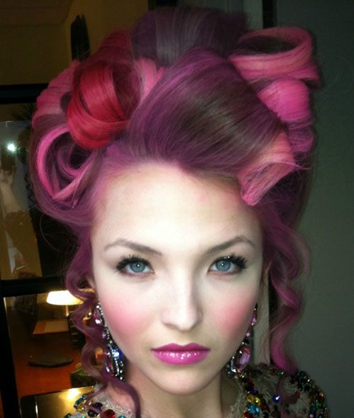 Pink Highlights Curly Updo
