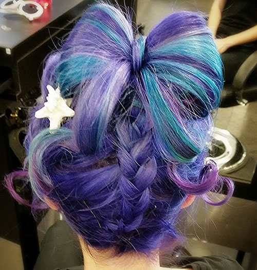 Purple and Blue Updo Hairstyle
