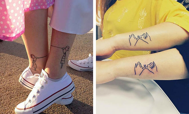 37bf94c59fc35 69 Heart-Warming Sister Tattoo Ideas | StayGlam