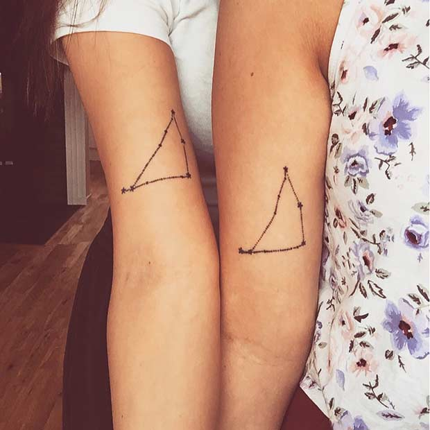 Matching Capricon Constellation Tattoos for Twin Sisters