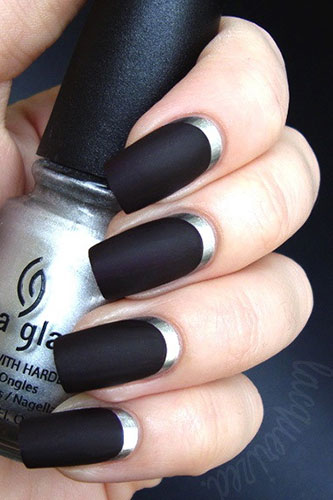 Black Matte Nails with Silver Details