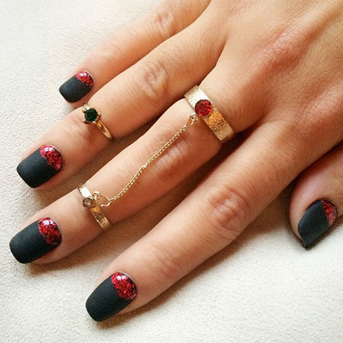 Black and Red Matte Nails