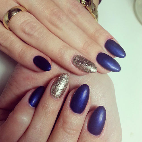 Blue Matte Nails Gold Glitter