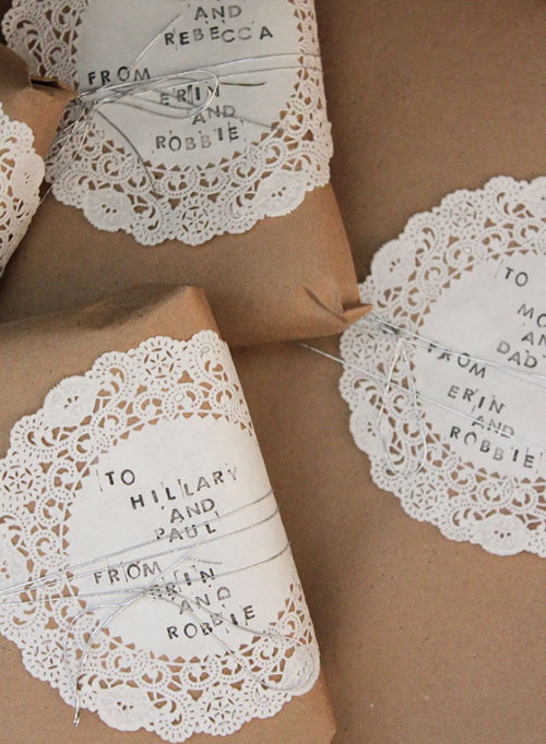 Brown Paper White Doilies Gift Wrapping Idea