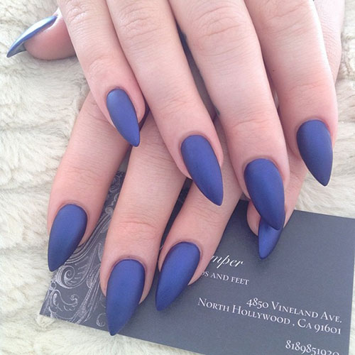 Dark Matte Stiletto Nails