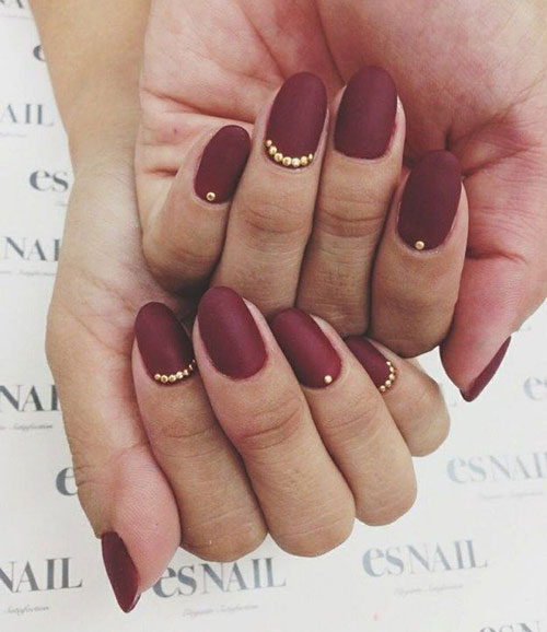 Dark Red Matte Nails Gold Details