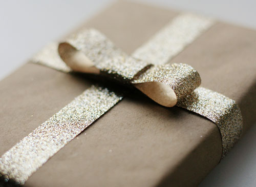 Gold Glitter Bow Kraft Paper Gift Wrapping