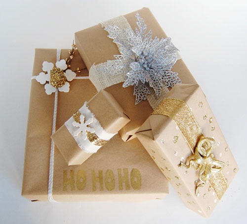 Gold and Silver Details Christmas Gift Wrapping