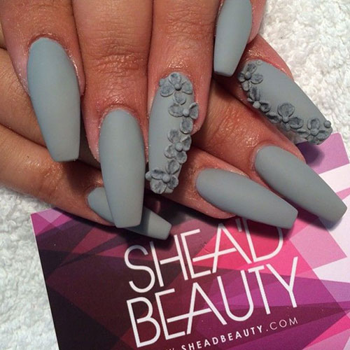 Grey Matte 3D Coffin Nails