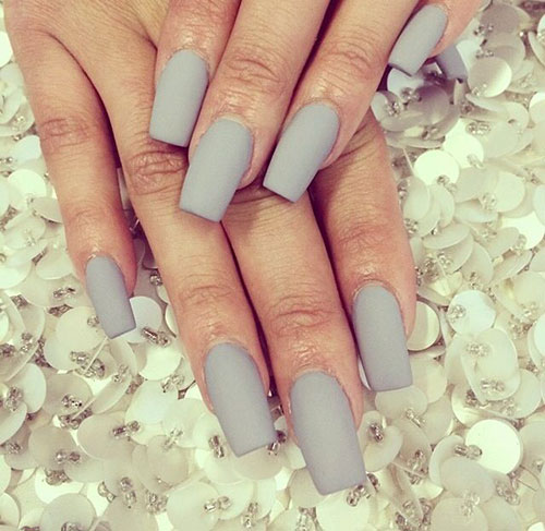 Grey Matte Coffin Nails