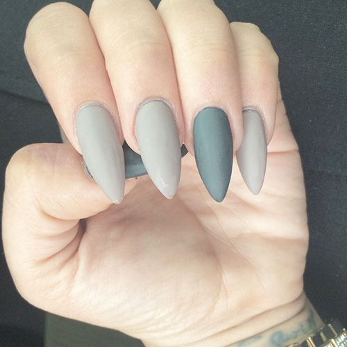 Grey Matte Stiletto Nails