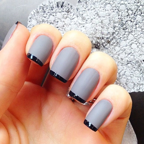 Grey Matte and Black Nails