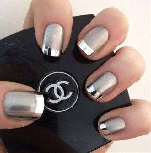 Grey and Silver Matte Nails
