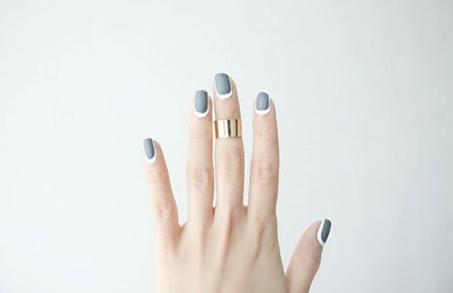 Grey and White Matte Nails