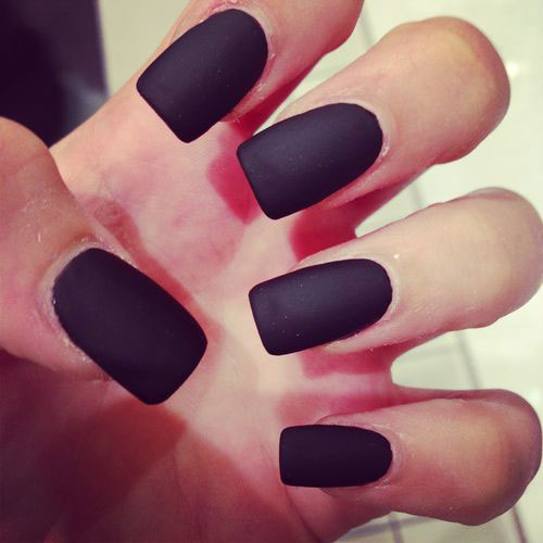 Long Black Matte Nails