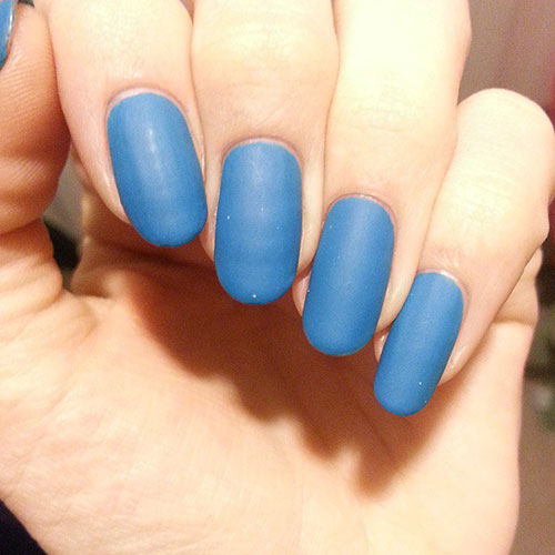Long Blue Matte Nails