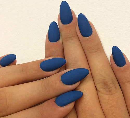 Long Blue Matte Stiletto Nails