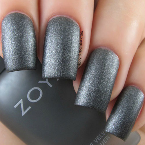 Long Grey Glitter Matte Nails