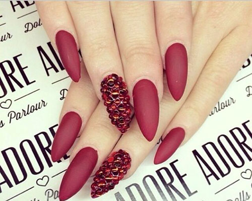 Long Red Matte Nails with Crystals