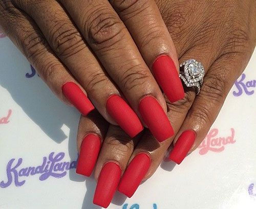 Long Red Matte Nails