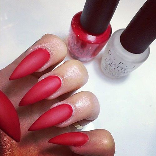 Long Stiletto Red Matte Nails