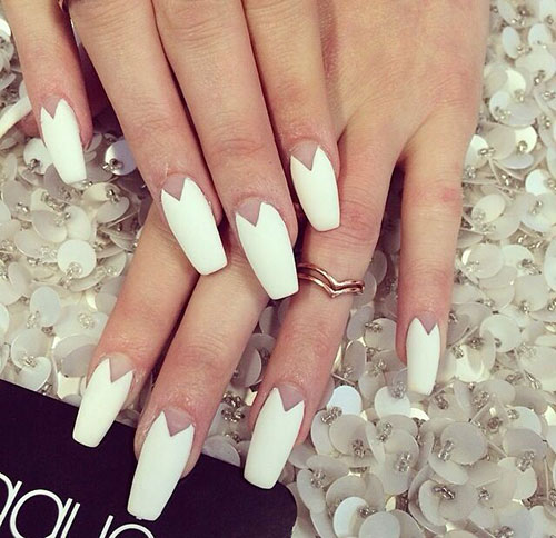 Long White Matte Coffin Nails
