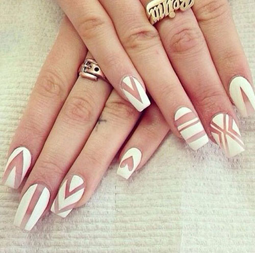 Long White Matte Nail Design