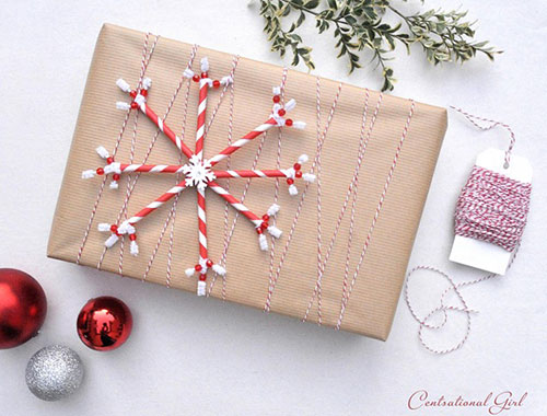 Paper Straw Snowflake Brown Paper Christmas Gift Wrap